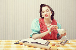 Housewife in the kitchen. Vintage portrait of a housewife in the kitchen Royalty Free Stock Image