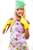 Housewife and knife Royalty Free Stock Photo