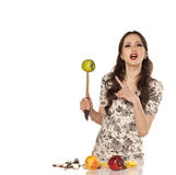 Housewife with a knife Royalty Free Stock Images