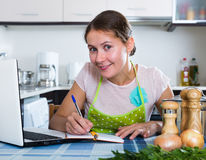 Housewife with  laptop at home Stock Photography