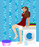 Housewife in the laundry Royalty Free Stock Photography