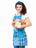 Housewife with laundry basket Stock Photo