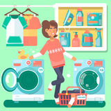 Housewife in the laundry room with washing machine  basket and household chemicals flat style  illustration Royalty Free Stock Images