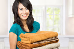 Housewife with laundry Royalty Free Stock Photos