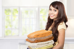 Housewife with laundry Stock Photo
