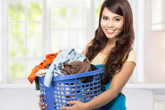 Housewife with laundry Stock Photos