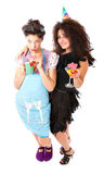 Housewife life and clubbing girl Stock Photography