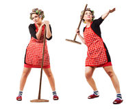 Housewife like javelin-throwing athlete royalty free stock photography