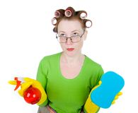 Housewife maid cleaner with sponge and spray Stock Photos