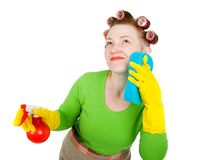 Housewife maid cleaner with sponge and spray Stock Images