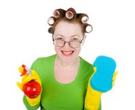 Housewife maid cleaner with sponge and spray Royalty Free Stock Photo