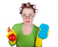Housewife maid cleaner with sponge and spray Royalty Free Stock Photography