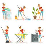 Housewife make different domestic works. Mother occupation. Vector cartoon characters set Royalty Free Stock Images