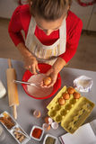 Housewife making dough for christmas cookies Stock Photo