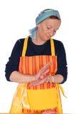 Housewife making meatballs Stock Image