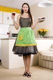 Housewife with martini and tray Royalty Free Stock Photos