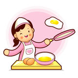 Housewife Mascot have fried eggs. Home and Family Character Desi Royalty Free Stock Image