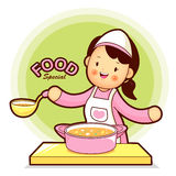 Housewife Mascot have soup cooking. Home and Family Character De Stock Images