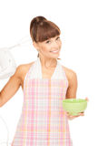 Housewife with mixer Royalty Free Stock Photo