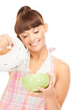 Housewife with mixer Royalty Free Stock Image