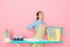 Housewife mom feels painful Royalty Free Stock Image