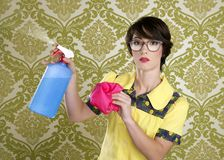 Housewife nerd retro cleaning chores equipment Royalty Free Stock Images