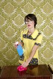 Housewife nerd retro cleaning chores equipment Stock Photos