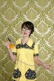 Housewife nerd retro unhappy iron chores Royalty Free Stock Images