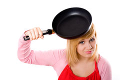 Housewife with pan Stock Images