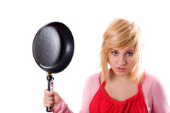 Housewife with pan Stock Photos