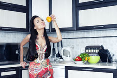 Housewife with pepper Stock Images