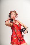 Housewife on the phone Royalty Free Stock Photo