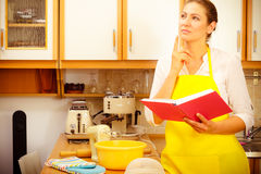 Housewife planning and preparing meal Stock Images