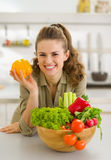 Housewife with plate of fresh vegetables Royalty Free Stock Photo