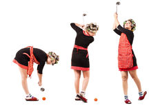 Housewife playing by golf Stock Image