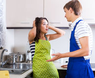 Housewife and plumber Royalty Free Stock Images