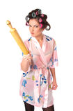 Housewife with plunger. Isolated at white background stock photography