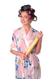 Housewife with plunger Royalty Free Stock Image