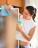 Housewife polish the glass. Smiling young housewife polish the glass using snippet and spray Royalty Free Stock Photo