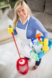 Housewife prepared to clean Stock Image