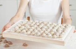 Housewife preparing meat dumplings Stock Image