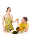 Housewife prepearing vegetables Royalty Free Stock Images