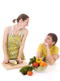 Housewife prepearing vegetables Stock Photo