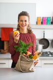 Housewife with purchases from local market Royalty Free Stock Photography