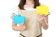 Housewife with purses royalty free stock photos