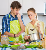 Housewife put too much spices in food Royalty Free Stock Photography