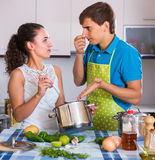 Housewife put too much spices Stock Photography