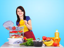 Housewife puts steamer Royalty Free Stock Image