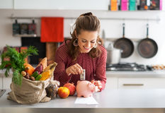 Housewife putting money into piggy bank. Portrait of happy young housewife putting money into piggy bank after shopping on local market Royalty Free Stock Photo