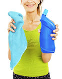 Housewife with rag / wipe and cleaning spray for window Royalty Free Stock Photos